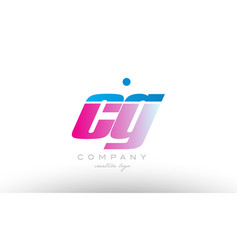cg c g alphabet letter combination pink blue bold vector image