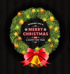 Christmas wreath frame and typography design vector image