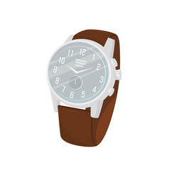 classic wrist watch with brown leather strap gray vector image