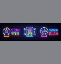 collection neon logos lottery and fortune vector image