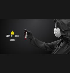 Coronavirus covid19-2019 woman in black white mask vector
