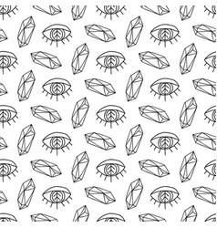 crystals gems and eyes magic seamless pattern vector image