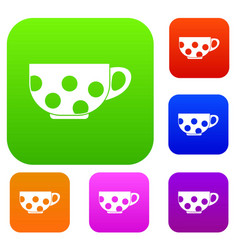 Cup set collection vector