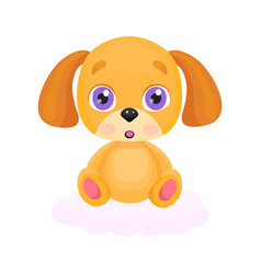 cute little red dog sitting on cloud vector image
