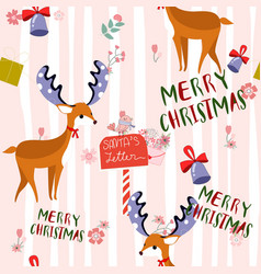 cute merry christmas celebrated cartoon seamless vector image