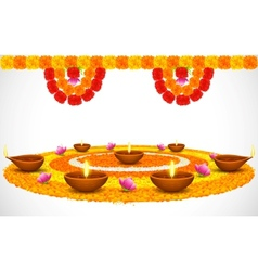 Decorated Diwali Diya on Flower Rangoli vector