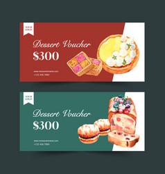 Dessert voucher design with bread cookie vector