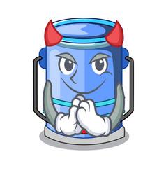 Devil cylinder bucket with handle on cartoon vector