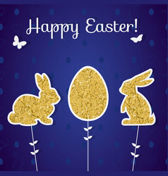 easter golden decoration in form of bunny and egg vector image
