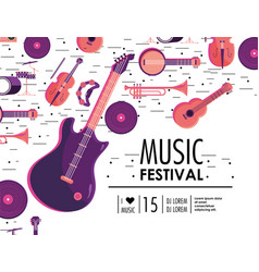 Electric guitar and instruments to music festival vector