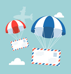 envelope with parachute in the sky vector image