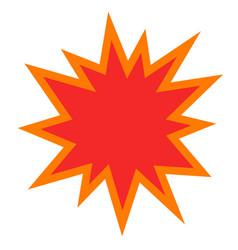 Explosion or bomb blast icon flat cartoon vector