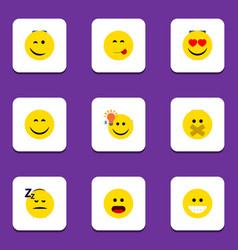 Flat icon expression set of love winking asleep vector