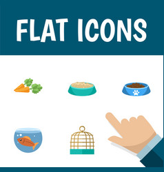 Flat icon pets set of bird prison fishbowl vector