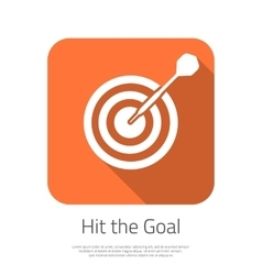 Flat target hit the goal icon with long vector