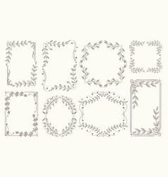 floral frames branches line sketch vector image