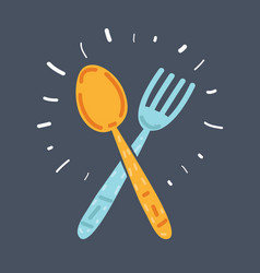 fork and spoon cartoon icon vector image