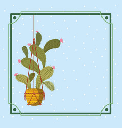 Frame with houseplant hanging in macrame vector
