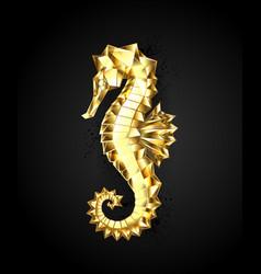 Gold polygonal seahorse vector