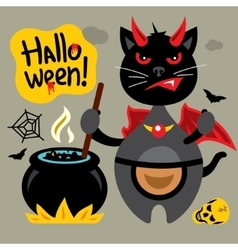 Halloween Crazy Black Cat Cartoon vector image