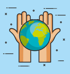 hands holding in palms a earth globe world charity vector image