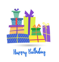 happy birthday greeting card template a pile vector image