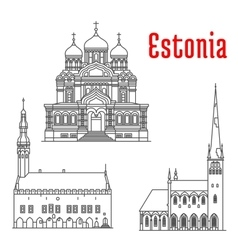 Historic landmarks and sightseeings of Estonia vector
