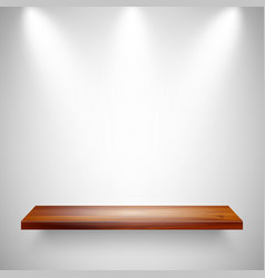 Illuminated realistic wooden wall shelf empty vector