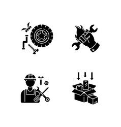 Industrial work black glyph icons set on white vector