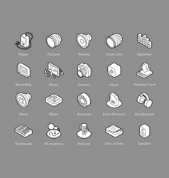 Isometric outline icons set vector