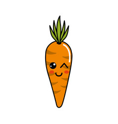 Kawaii cute happy carrot vegetable vector