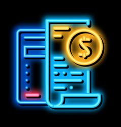 Keep minimal bookkeeping accounting neon glow icon vector