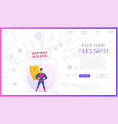 keep your files safe landing page template vector image