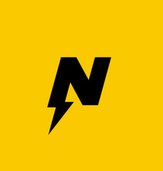 letter n lightning logo icon design template vector image