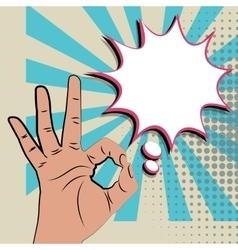 Like positive hand sign blue pop art background vector image