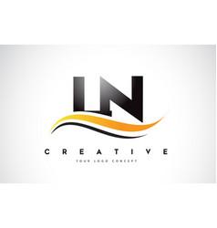 Ln l n swoosh letter logo design with modern vector