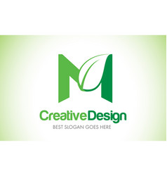 M green leaf letter design logo eco bio leaf vector