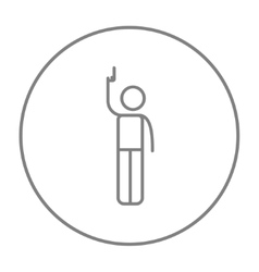 Man giving signal with starting gun line icon vector