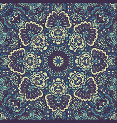 mandala flourish blue doodle decorative vector image