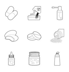 Medicament icons set outline style vector