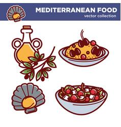 Mediterranean food collection of tasty vector