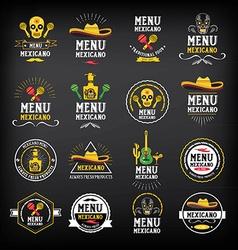 Menu mexican logo and badge design vector image