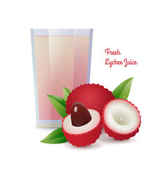 Natural fresh lychee juice in glass vector
