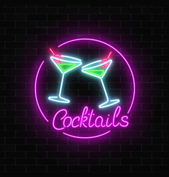Neon cocktails bar sign on dark brick wall vector