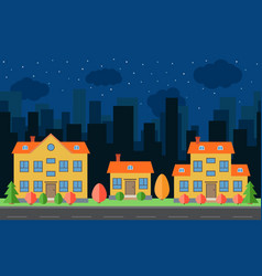 Night city with cartoon houses and building vector