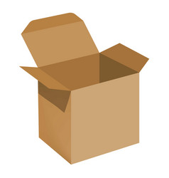 opened brown carton box mockup realistic style vector image