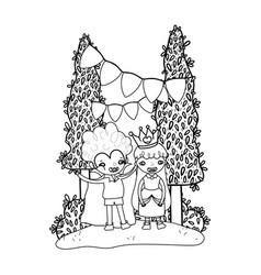 Outline boy vampire and girl queen to halloween vector