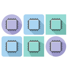 outlined icon central processing unit vector image
