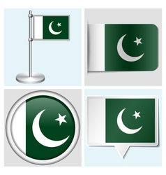 Pakistan flag - sticker button label flagstaff vector