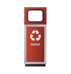 paper garbage bin mockup realistic style vector image